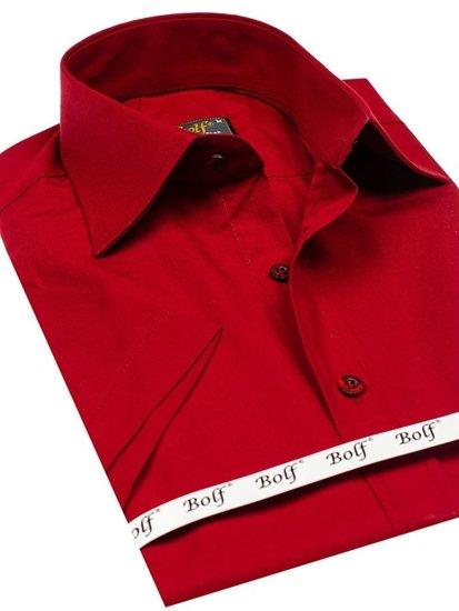 Koszula męska elegancka z krótkim rękawem bordowa Bolf 7501