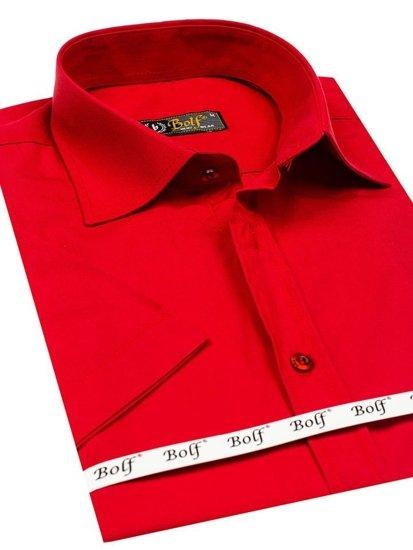 Koszula męska elegancka z krótkim rękawem czerwona Bolf 7501