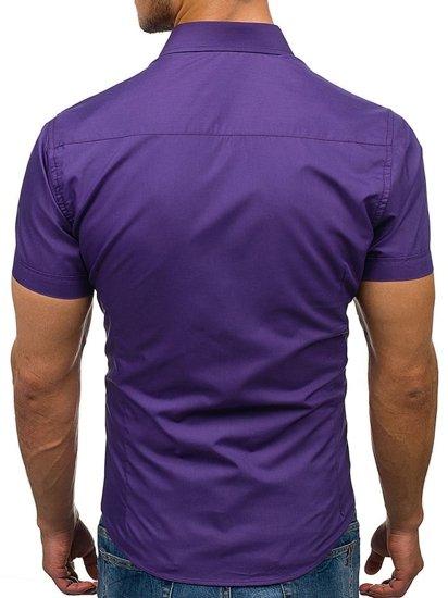 Koszula męska elegancka z krótkim rękawem fioletowa Bolf 7501