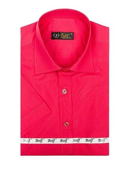 Koszula męska elegancka z krótkim rękawem koralowy Bolf 7501