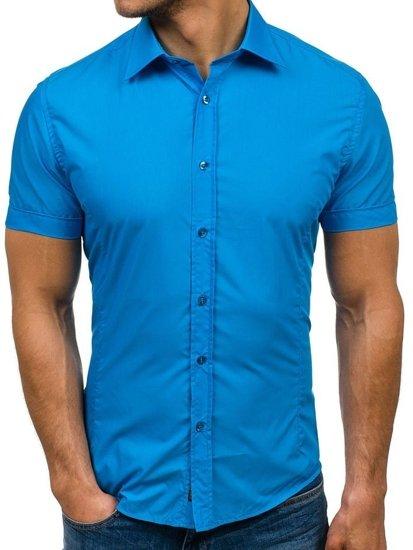 Koszula męska elegancka z krótkim rękawem turkusowa Bolf 7501