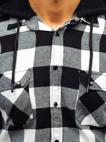 Koszula męska flanelowa z długim rękawem czarno-biała Denley 1031