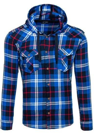 Koszula męska flanelowa z długim rękawem niebieska Denley 2500