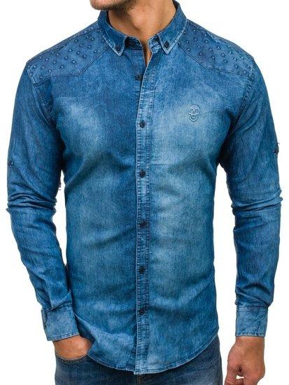 Koszula męska jeansowa z długim rękawem niebieska Denley 0540-1