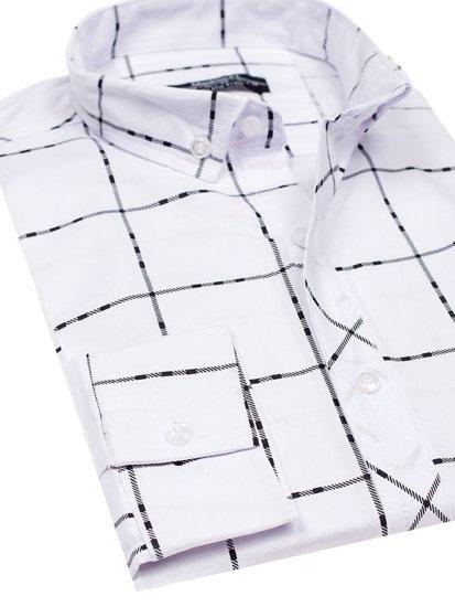 Koszula męska w kratę z długim rękawem biała Denley 0280