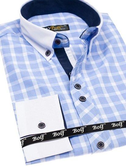 Koszula męska w kratę z długim rękawem błękitna Bolf 5737