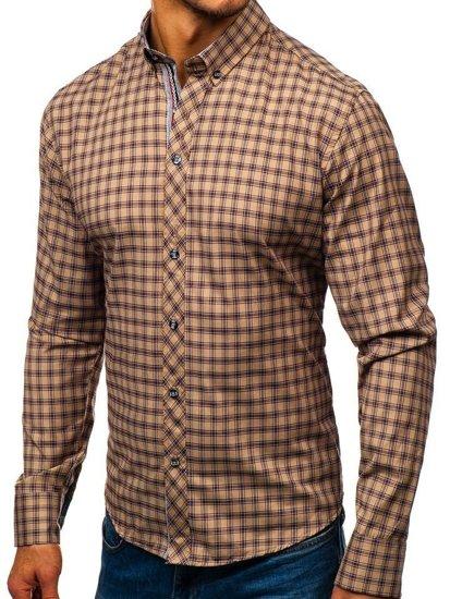 Koszula męska w kratę z długim rękawem brązowa Bolf 8833