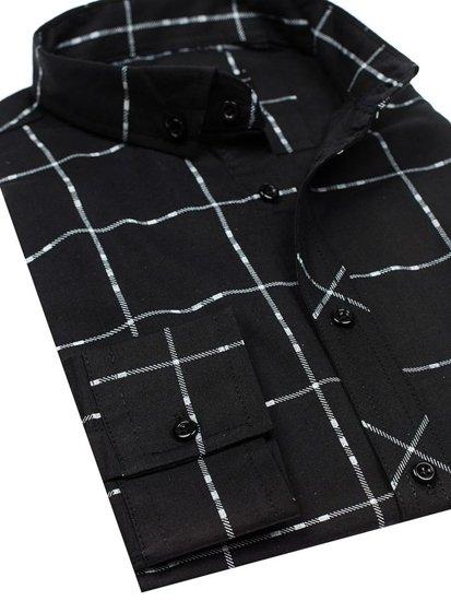 Koszula męska w kratę z długim rękawem czarna Denley 0280