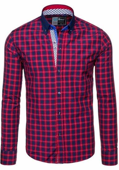 Koszula męska w kratę z długim rękawem czerwona Bolf 5813