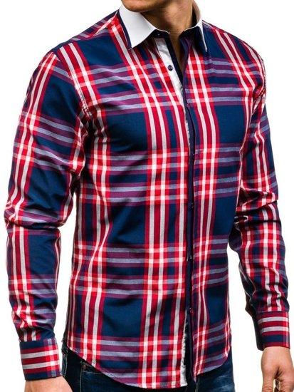 Koszula męska w kratę z długim rękawem czerwona Bolf 6960