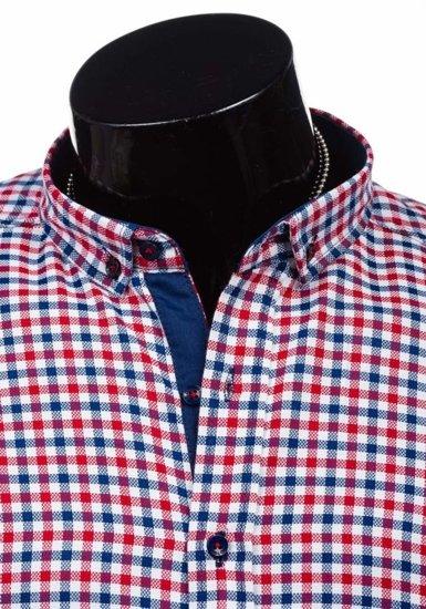Koszula męska w kratę z długim rękawem czerwono-granatowa Denley 2145