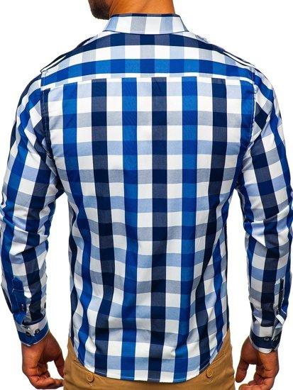 Koszula męska w kratę z długim rękawem granatowa Bolf 2779