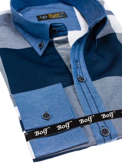 Koszula męska w kratę z długim rękawem granatowa Bolf 7703