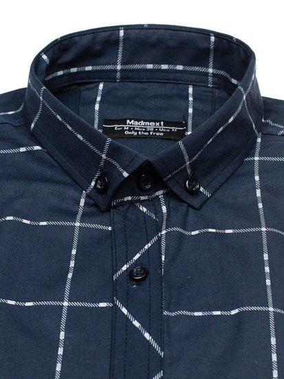 Koszula męska w kratę z długim rękawem granatowa Denley 0280