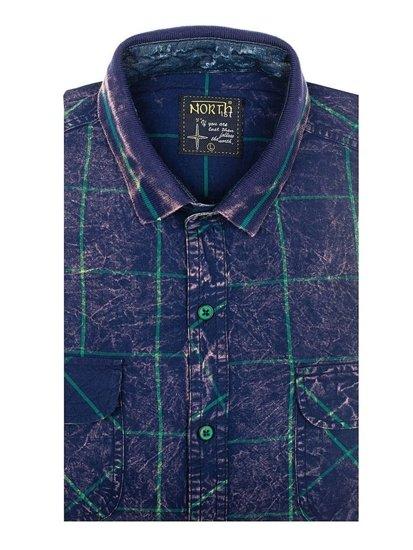 Koszula męska w kratę z długim rękawem granatowo-zielona Denley 2506