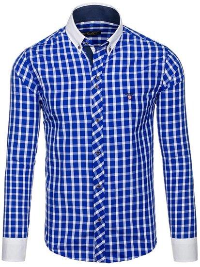 Koszula męska w kratę z długim rękawem kobaltowa Bolf 5737