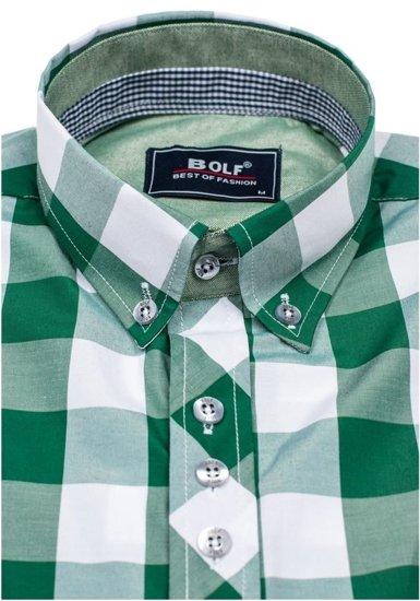 Koszula męska w kratę z długim rękawem zielona Bolf 6888