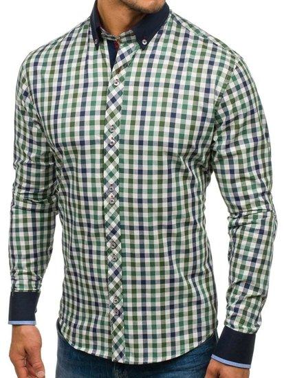 Koszula męska w kratę z długim rękawem zielona Bolf 8813