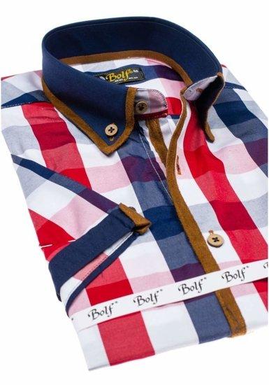 Koszula męska w kratę z krótkim rękawem czerwona Bolf 5507-1
