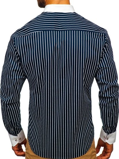 Koszula męska w paski z długim rękawem granatowa Bolf 9713
