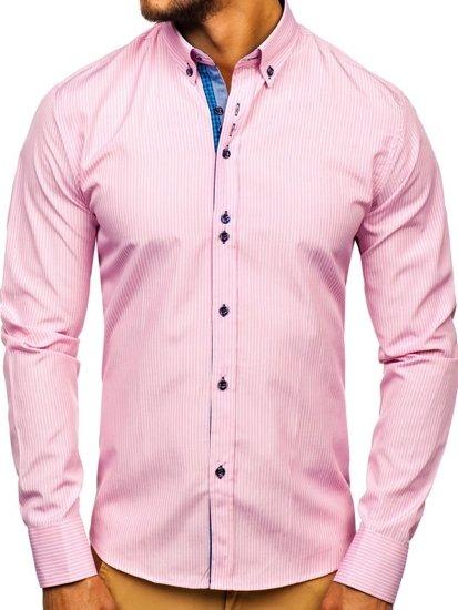 Koszula męska w paski z długim rękawem różowa Bolf 9714