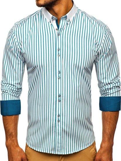 Koszula męska w paski z długim rękawem zielona Bolf 9713