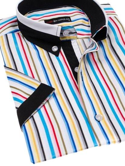 Koszula męska w paski z krótkim rękawem multikolor Denley 5204B