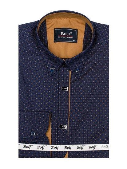 Koszula męska we wzory z długim rękawem atramentowa Bolf 7716