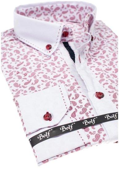 Koszula męska we wzory z długim rękawem bordowa Bolf 6926