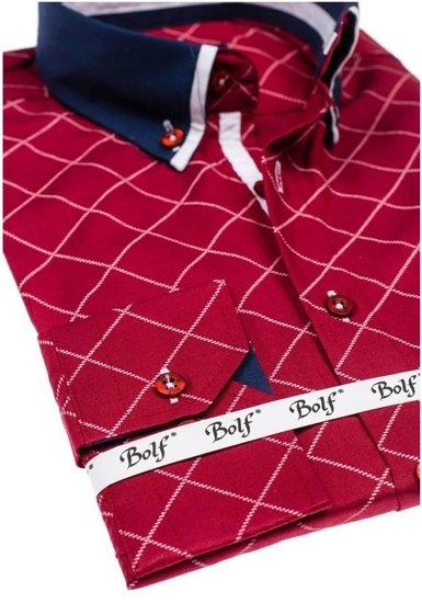 Koszula męska we wzory z długim rękawem bordowa Bolf 6931