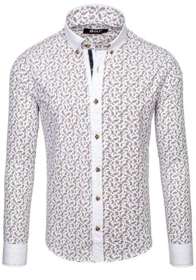 Koszula męska we wzory z długim rękawem brązowa Bolf 6926