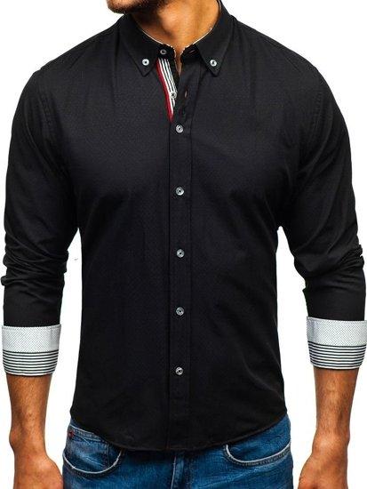 Koszula męska we wzory z długim rękawem czarna Bolf 8843