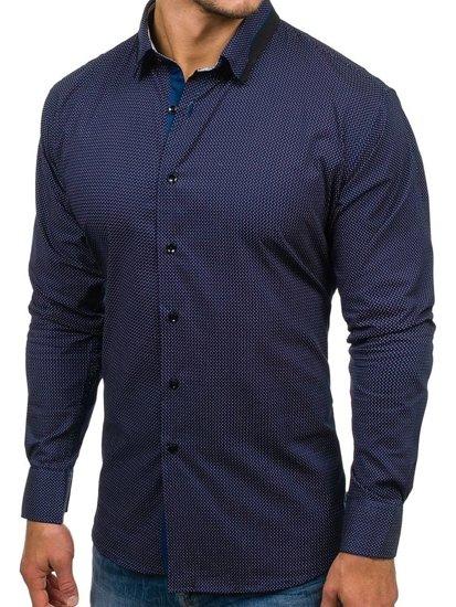 Koszula męska we wzory z długim rękawem granatowa Denley TS102