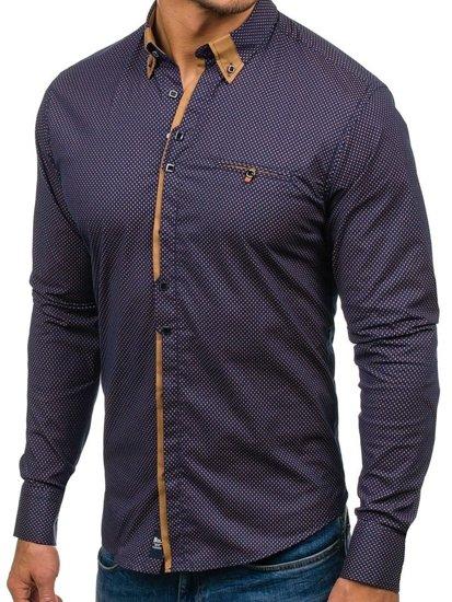 Koszula męska we wzory z długim rękawem granatowo-brązowa Bolf 7717