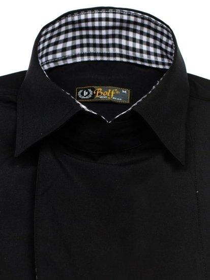 Koszula męska z długim rękawem czarna Bolf 5746