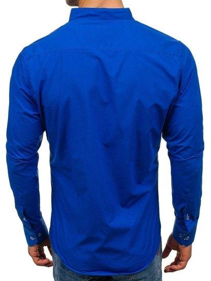 Koszula męska z długim rękawem kobaltowa Bolf 5720
