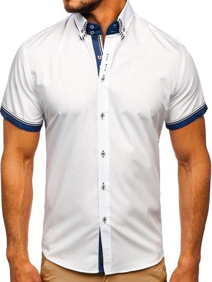 Koszula męska z krótkim rękawem biała Bolf 2911-1