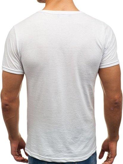 Koszulka męska bez nadruku w serek biała Denley 1002
