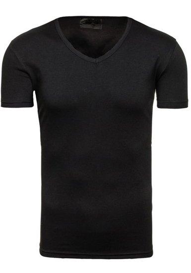 Koszulka męska bez nadruku w serek czarna Denley 2007