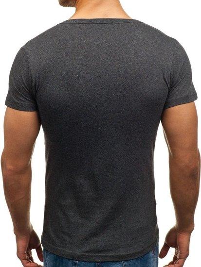 Koszulka męska bez nadruku w serek grafitowa Denley 1002