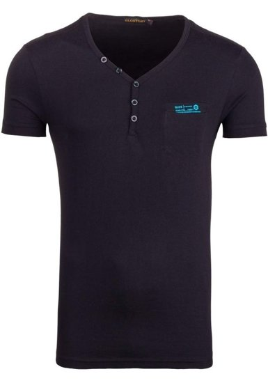 Koszulka męska z nadrukiem w serek czarna Denley 6152