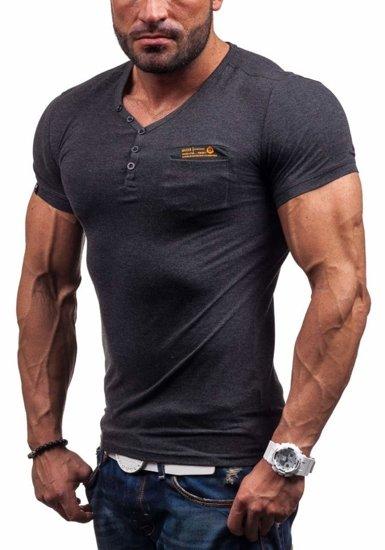 Koszulka męska z nadrukiem w serek grafitowa Denley 6152