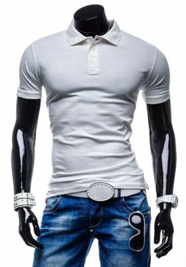 Koszulka polo męska biała Denley 5408