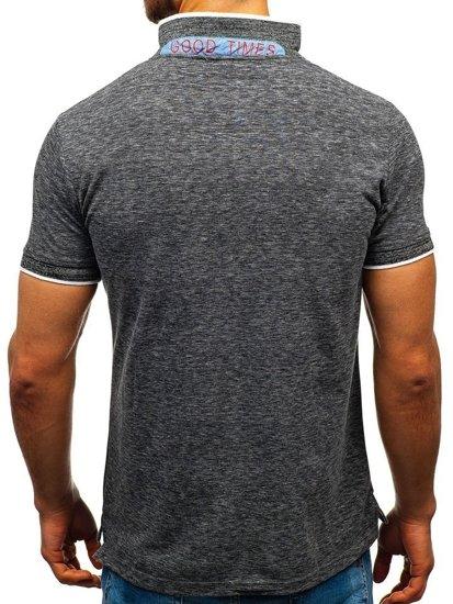 Koszulka polo męska czarna Denley 19240