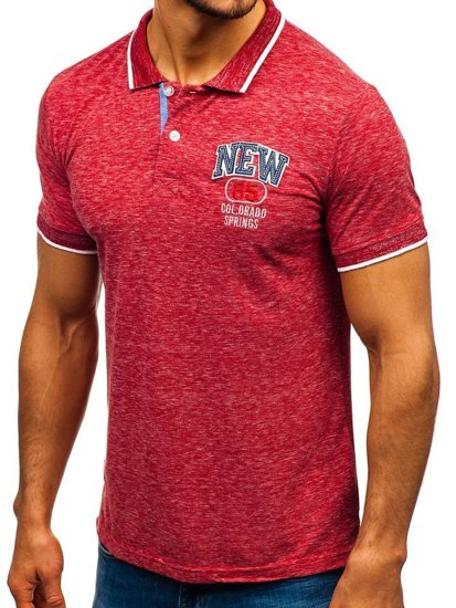 Koszulka polo męska czerwona Denley 19240