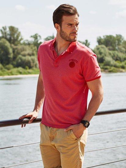Koszulka polo męska czerwona Denley 5084