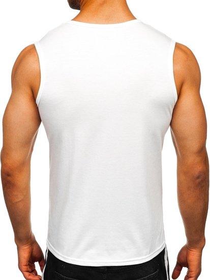 Koszulka tank top bez nadruku biała Denley 99001