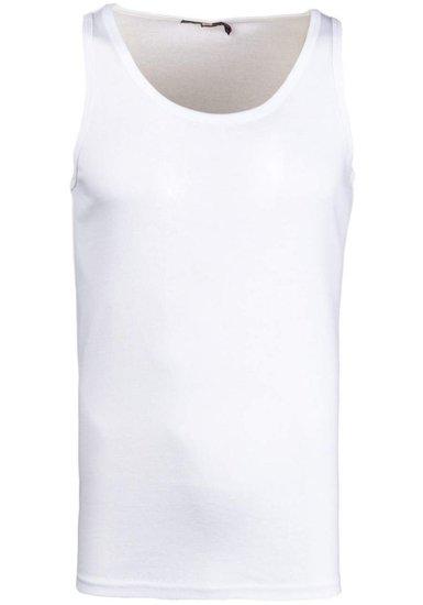 Koszulka tank top męska bez nadruku biała Denley 6063