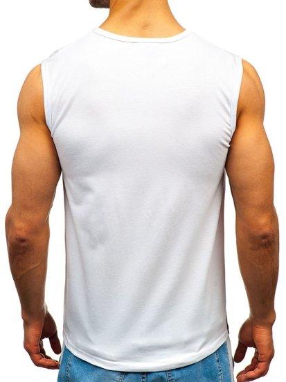Koszulka tank top męska z nadrukiem biała Denley 100751
