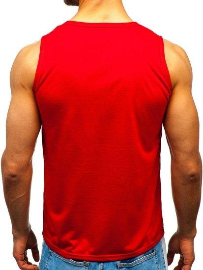 Koszulka tank top męska z nadrukiem czerwona Denley HY512